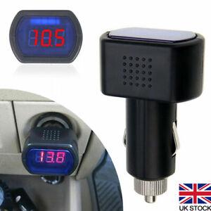 LED Car 12V 24V Battery Volt Voltage Meter Gauge Cigar Lighter Plug Black UK
