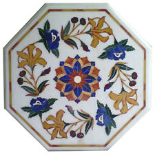 """15""""x15"""" Marble Coffee Table Top Real Lapis Inlay Mosaic Work Arts Decor"""