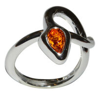 4.3g Authentic Baltic Amber 925 Sterling Silver Ring Jewelry N-A7553