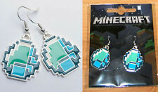 Minecraft Official Authentic Diamond Crafting Earrings Jewelry Licensed BLUE New