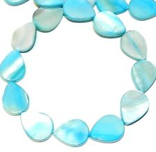 MP695f Ocean Blue 18mm Flat Teardrop Mother of Pearl Shell Beads 15""