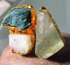 Gold plated brass green fluorite/Ethiopian opal/turquoise ring UK N/US 6.75-7