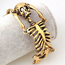 Mens Gothic Gold Plated Stainless Steel Skull Bone Skeleton Rock Bracelet 8inch