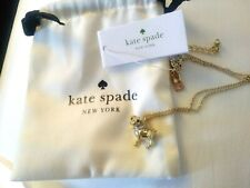 Kate Spade DOG Necklace pendant Pug terrier gold puppy crystal holiday gift mom