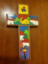 Handcrafted Wooden Cross El Salvador Hand Painted Village Folk Art Crucifix