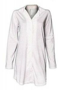Louis & Louisa - Damen Nachthemd, langarm, XL, rosa/weiß Herzchen allover %% %