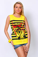 Ladies Vest Top OOPS Print Sleeveless Casual 100% Cotton T-Shirt Sizes 8-14 FB64
