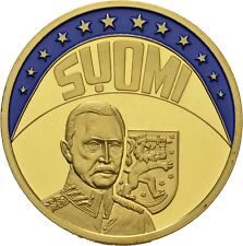 EUROPE ECU SERIES FINLAND SUOMI GILDED PROOF LIKE GILT MEDAL 1997 #ME237