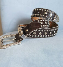 Nocona Brown Leather Belt Crystals Silver Studs Western Buckle Size M