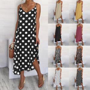 Size Womens Holiday Strappy Button Ladies Summer Beach Midi Swing Sun Dress 8-26