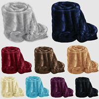 Fleece Blanket Large Sofa Throw Soft Warm Faux Fur Mink Double & King Size