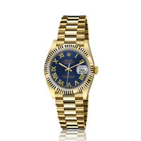 Rolex 31mm Presidential 18kt Gold Navy Blue Roman Numeral Dial Flutted Bezel 682