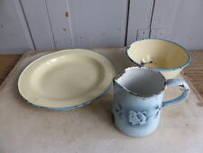 Small collection of vintage buttermilk enamelware - plate bowl mug