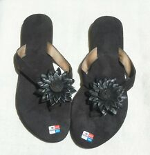 SUEDE FLIP FLOP SANDALS MADE IN BALI, BLACK  COLOR & FLOWER LEATHER,S003