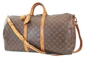 Auth LOUIS VUITTON Keepall Bandouliere 55 Monogram Canvas Duffel Bag #39580