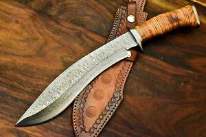 """Kukri - Custom Handmade Damascus Steel Kukri Knife & Sheath"""" Leather Roll Handle"""