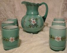 Complete Set 75th Anniversary Diamond Jubilee Signed Fenton Pitcher & Tumblers