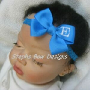 Turquoise Monogram Dainty Hair Bow Headband Personalized 4 Preemie 2 Toddler
