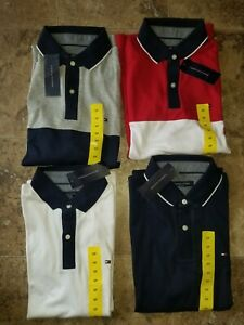 Mens Tommy Hilfiger Polo Shirt Short Sleeved Red Blue Gray White