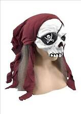 Pirate Skeleton Half Face Mask With Bandana & Hair Halloween Fancy Dress P5486