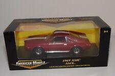 A4 1:18 ERTL AMERICAN MUSCLE AMC AMX 1969 MAROON MINT BOXED