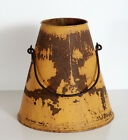 Antique Galvanized Metal Milking Dairy Bucket   Milk Pail with Old Yellow Paint