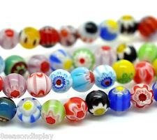 5 Strands Millefiori Glass Lampwork Round Beads 6mm