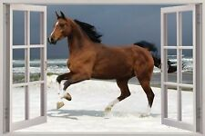 Cheap 3D Window view Horse on Beach Wall Sticker Film Mural Art Decal 261