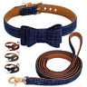 Cute Bow Tie Dog Cat Collar and Lead Soft Leather Padded for Small Medium Dogs