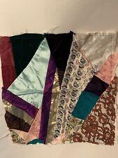 "Pillow Top Cover Crazy Quilt Design Cigar Print Lace & Satin 17"" Square"