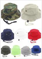 Newhattan 100% Cotton Boonie Bucket Men Safari Summer String Hat Cap
