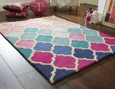 SALE ON Illusion Rosella Pink Blue Hand Carved Wool Rug in various sizes