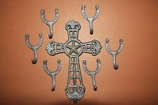 (7) Christian Cowboy Western Star Cross Wall Hooks Solid Cast Iron, Unfinished