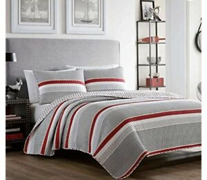 New Poppy & Fritz Anchors Away Quilt Set, Full / Queen ~ Stripes Black Red White