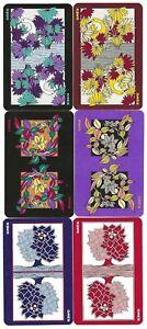 Set 6 VINTAGE Swap/Playing Card REVERSIBLE COLOURFUL FLOWERS BIRD SWAN #LS1