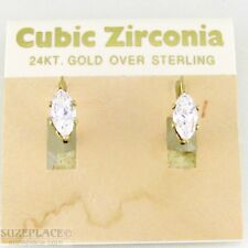 24 KT GOLD OVER STERLING CZ EARRINGS NWT $30