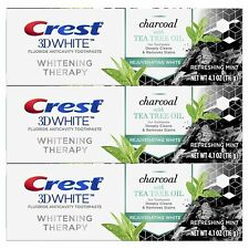 Crest Charcoal 3D White Toothpaste, Whitening Therapy, with Tea Tree Oil 3 Pack