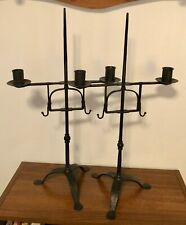 Pair of Tall Antique Reproduction Black Cast Iron Taper Candlestick Holders