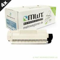 4x MWT Eco Cartucho Negro para Oki Color MC563DN MC573DN Negro