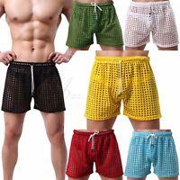 Hot Sexy Lingerie Men's Hollow Openwork Drawstring Lounge Underwear Boxer Shorts