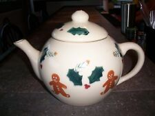 Hartstone Gingerbread Man Teapot with Holly Vintage Stoneware Ohio Pottery USA