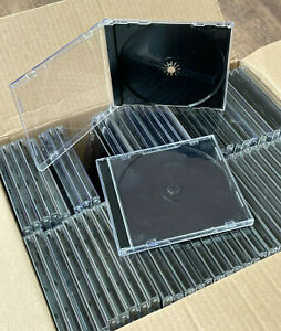 66 x Very Good Used Replacement CD Jewel Cases - Black Tray - Free P&P