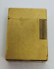 St DuPont Paris French Yellow Gold Plated Checkered Lighter