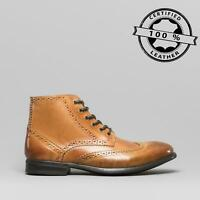 Mister Carlo LEONARDO Mens Leather Lace/Zip Up Smart Brogue Ankle Boots Tan