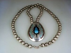 OLD NAVAJO STERLING SILVER BENCH BEAD NECKLACE w/ TURQUOISE CORAL INLAY PENDANT