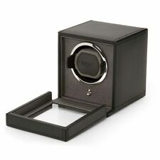 WOLF CUB Single Watch Winder with Cover in BLACK (mains or battery)