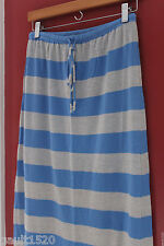 NWT C & C California Sexy Cotton Modal Long Striped Blue Gray Knit Skirt S $108
