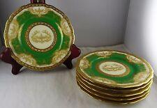 6 Black Knight Green Adam Bread Plates Urns Gold Encrusted Hohenberg Bavaria