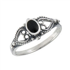 Oxidized Filigree Heart Black Onyx Promise Ring Sterling Silver Band Sizes 4-8
