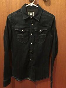 G-Star Rinsed Denim Slim Fit Shirt Size Small